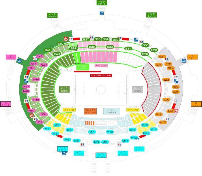 味の素スタジアム 座席案内図:画像
